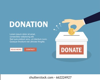 Hand insert coin into donate box. Vector illustration.