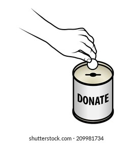 A hand inserting a coin into a donation/charity tin with a slot for coins and a hole for notes. Text says Donate.