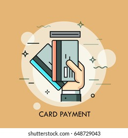 Hand inserting credit or debit card into slot. Payment method, money withdrawal, ATM service, transaction concept. Vector illustration for banner, poster, presentation, brochure, website, print.