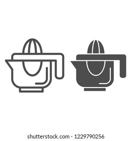 Hand juicer line and glyph icon. Juice squeezer vector illustration isolated on white. Citrus juicer outline style design, designed for web and app. Eps 10