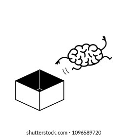 Hand jumping out of the box. Vector concept illustration of unconventional thinking out of the box | flat design linear infographic icon black on white background