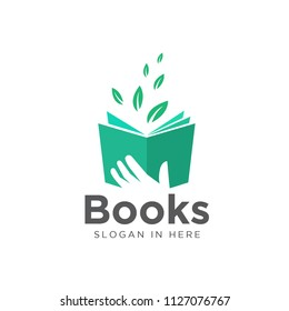 hand keep book, read source green leaf book logo