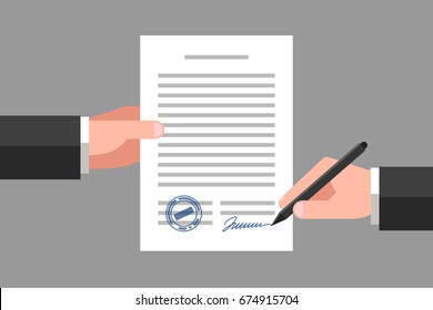 Hand keeping an document, and another hand keeping a pen. Signing an agreement. Business partnership concept