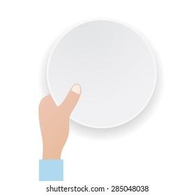 hand keeps white round paper banner