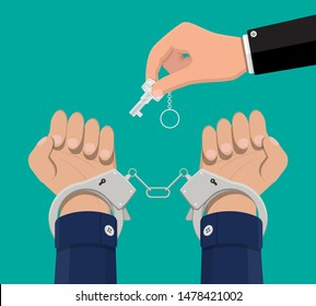 Hand with key unlocking handcuffs. Break free. Freedom concept. End of arrest. Prisoner release. Vector illustration in flat style