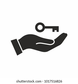 Hand with a key. Vector icon.