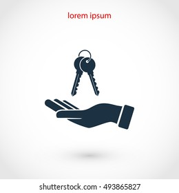 hand with keys icon, flat design best vector