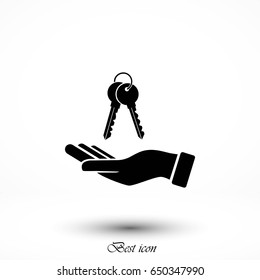 hand with keys icon, flat design best vector icon