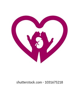 Hand with kidney in heart icon logo. Concept of love your kidneys