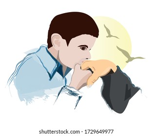 A hand kissing child and birds