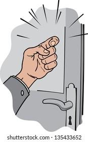 Hand knocking on wooden doors gray