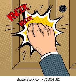 Hand knokning door pop art retro vector illustration. Comic book style imitation.