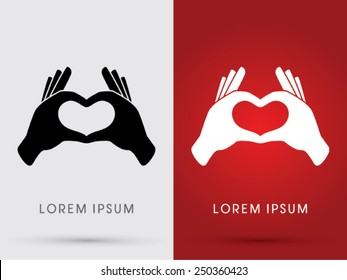 Hand language, Heart, love, shadow, logo, symbol, icon, graphic, vector.
