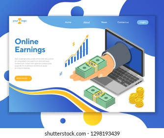 Hand from laptop with money. internet income, onilne earnings, income from gambling concept. Isometric icons. landing page template. isolated vector illustration