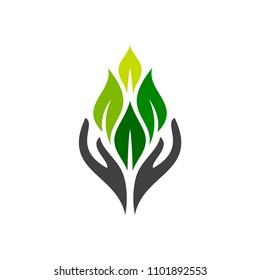 Hand And Leaf Logo, Health Care Logo, Nature Logo