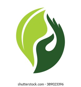 hand and leaf logo vector.