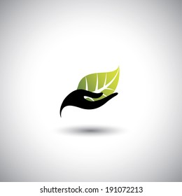 hand & leaf - nature conservation or spa concept vector. The graphic illustration also represents protecting natural resources, organic products, wellness industry, alternative health