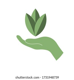 Hand with leaf silhouette vector design illustration
