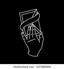 hand with a letter illustration traditional tattoo flash