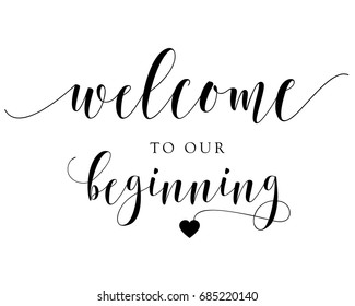 Hand letter script wedding sign catch word art design vector for welcome to our beginning