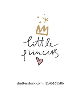 Hand lettered baby princess label, fairy tale concept, lettering word. Stylish girl print for posters, cards, mugs, clothes and other. Vector Illustration, clipart. Isolated on white background.
