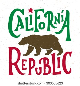 Hand lettered California Republic apparel t shirt fashion design, Walking Grizzly Bear graphic, typographic art, ink drawing vector illustration, Golden state west coast travel souvenir. Flag colors.