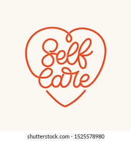 Hand lettered phrase in heart shape. The inscription: Selfcare. Perfect design for greeting cards, posters, T-shirts, banners, print invitations.Monoline lettering.