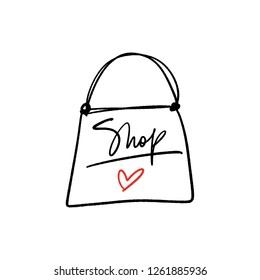 Hand lettered shopping text logo and bag, type label, print. Unique stylish calligraphy design for posters, cards, mugs, clothes and other. Vector Illustration, clipart. Isolated on white background.