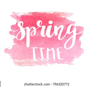 Hand lettered style spring design on a pink watercolor