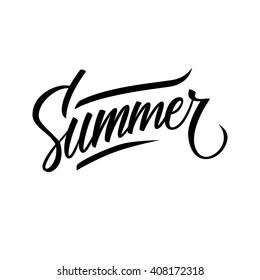 "Hand lettered text ""Summer"". Calligraphic season inscription. Vector handwritten typography."