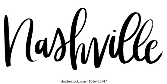 Hand lettered vector monochromatic brushstroke Nashville, Tennessee calligraphy city name.  Hand written U.S. state capital, travel or destination city isolated on a white background.