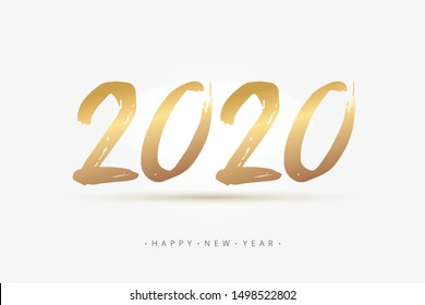 Hand Lettering 2020 year for calendar, web banner, poster. Brush ink calligraphy quote. Happy New Year greeting card. Hand drawn vector lettering gold number text 2020 in white background.