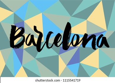 "Hand lettering ""Barcelona"" with colorful background Gaudi, park Guell mosaic patern"