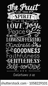 Hand lettering The fruit of the Spirit . Bible verse. Christian poster. New Testament. Galatians. Grapic print
