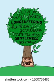 Hand lettering The fruit of the Spirit is joy, love, peace with tree. Bible verse. Christian poster. New Testament. Galatians. Grapics. Scripture. Quote.