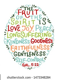 Hand lettering The fruit of the Spirit is love, joy, peace . Bible verse. Christian poster. New Testament. Galatians. Graphic. Scripture print