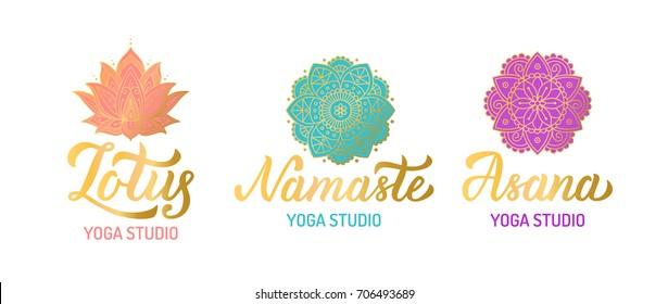 Hand lettering gilding logo set for yoga studio. Mandala with turquoise elements. Vector illustration.