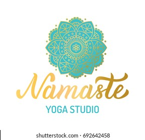 Hand lettering gilding logo for yoga studio. Mandala with turquoise elements. Vector illustration.