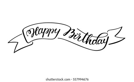 hand lettering happy birthday with sketch ribbon