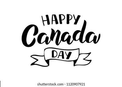 Hand lettering Happy Canada Day. Typographic design. For banner, invitation, print, advertising, poster, party, greeting card. Vector Illustration.