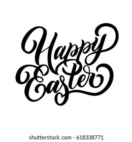 Hand lettering Happy Easter fancy calligraphy text, isolated on white background. Vector illustration. Can be used for holiday design