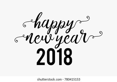 Hand lettering Happy New Year text for greeting card. Vector holiday design. Caligraphy Vector text.