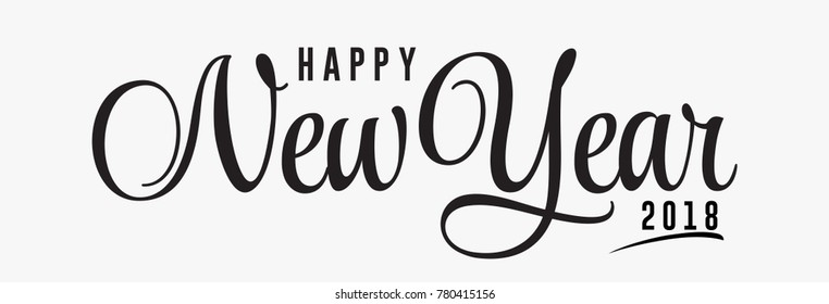 Hand lettering Happy New Year text. Vector holiday design. Caligraphy Vector text.