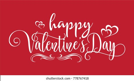 Hand lettering Happy Valentines Day, romantic heart greeting card with red background, modern typography for poster, vector art.