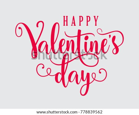 Hand Lettering Happy Valentines Day Romantic Stock Vector Royalty