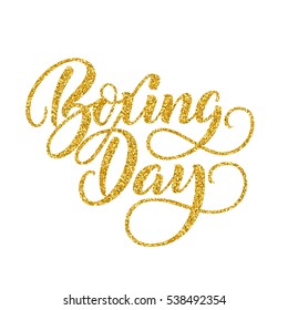 Hand lettering inscription Boxing Day with golden glitter effect, isolated on white background. Ideal for festive design, christmas postcards. Vector illustration