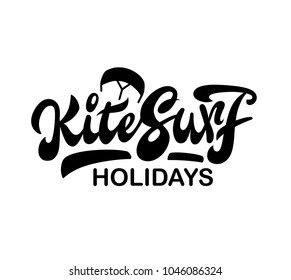 "Hand lettering ""Kitesurf holidays"" with kite illustration, water sports, extreme sports, logo, symbol, sign"