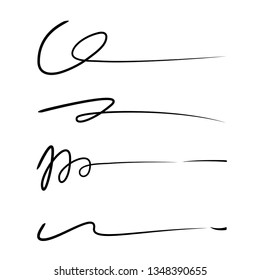 hand lettering lines, signature lines vector