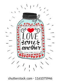 Hand lettering Love one another, made on pot with hearts. Christian Poster. Biblical background. Declaration of love. Valentine s day. Scripture print. Card. Wedding.