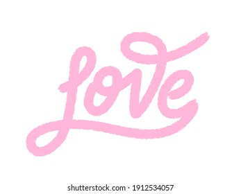 Hand lettering love pink color